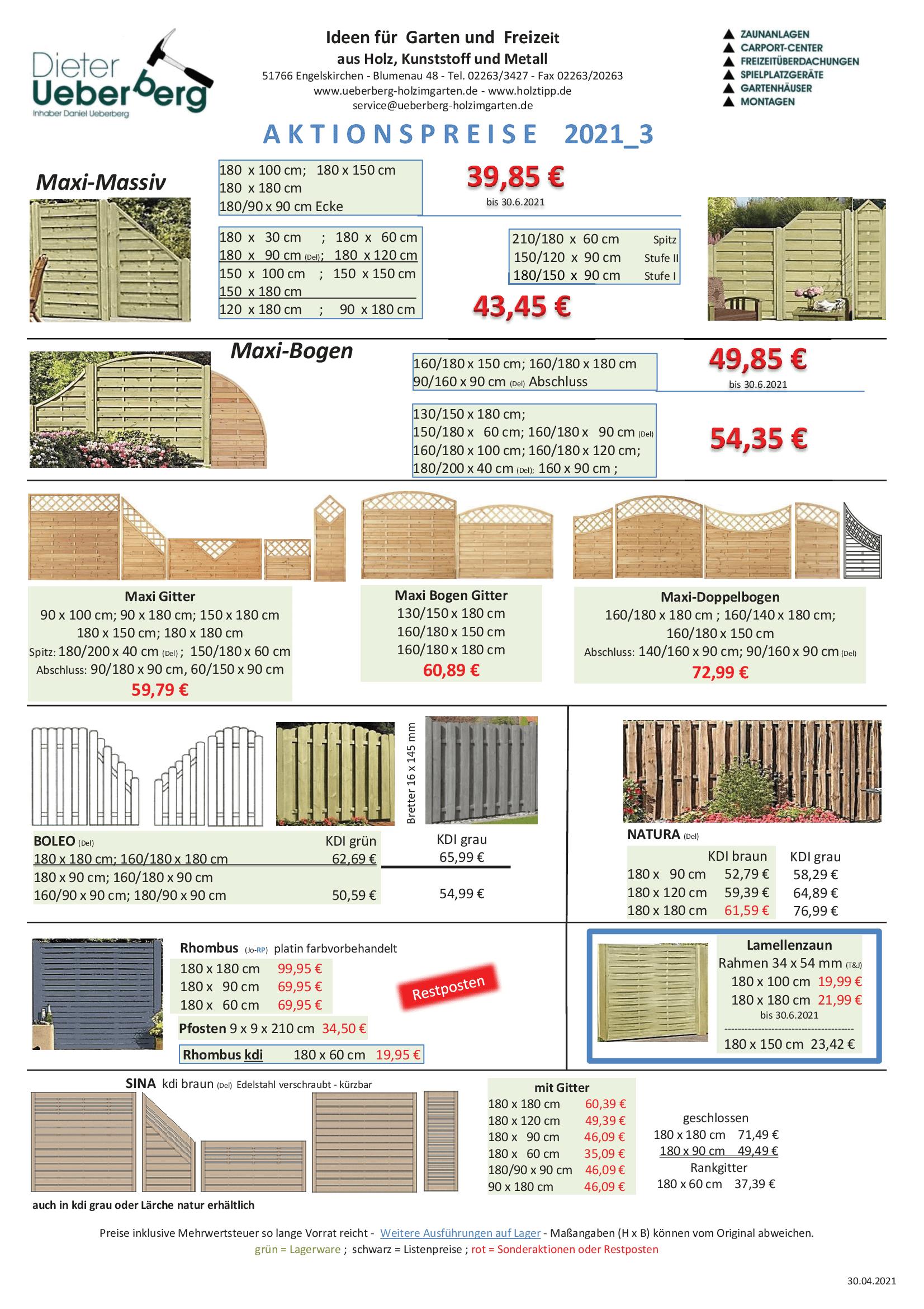 Angebote Sichtschutz und Zäune Ueberberg 2021_3